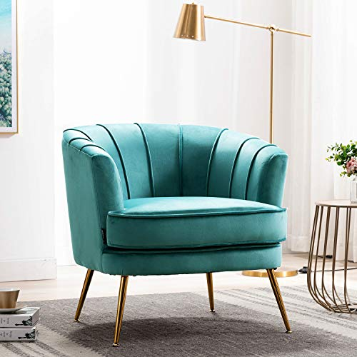 Altrobene Velvet Accent Chairs Soft Padded Curved Tufted Chairs with Golden Finished Metal Legs, Armchairs for Living Room, Bedroom Modern Chairs, Dark Teal