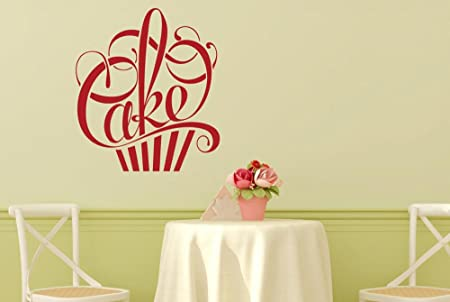 Writing in form of a cake wall stickers and art decals medium height 50cm