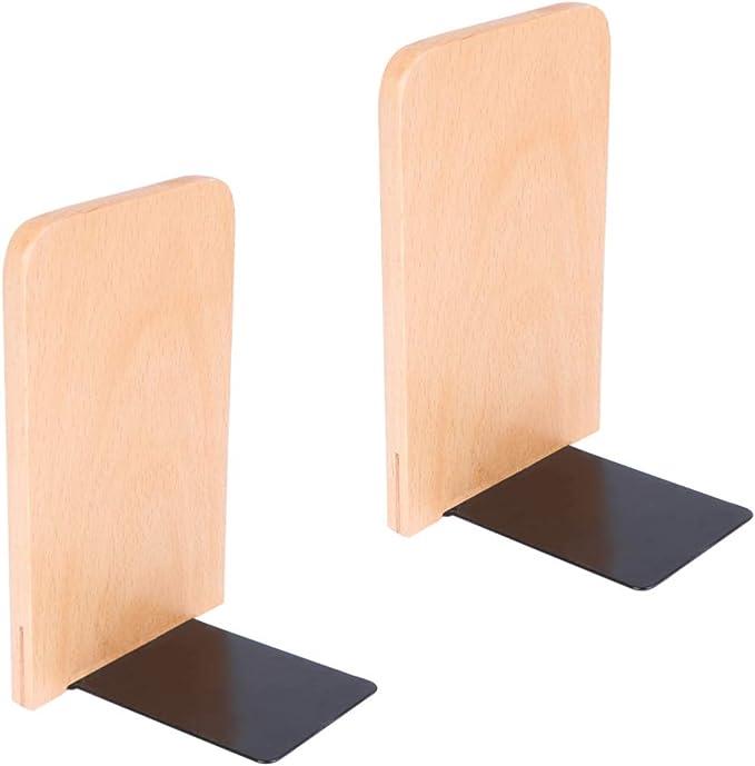Fanuse Fermalibri In Legno 2 Pezzi con Base In Metallo Resistente In Noce Nero con Supporto Antiscivolo per Desktop o Scaffali per Ufficio