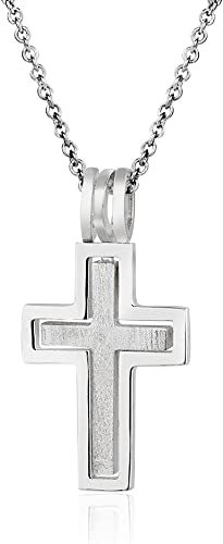 925 Sterling Silver Float Cross Pendant Chain Necklace Womens Jewellery Gift New