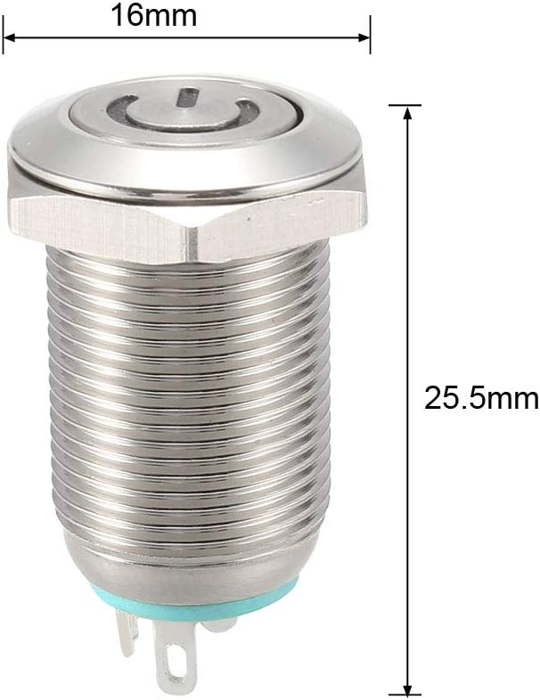 uxcell Latching Metal Push Button Switch Flat Head 12mm Mounting Dia 1NO 3-6V Green LED Light