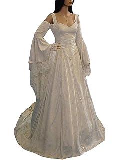 Guiran Disfraz Medieval Mujer Largo Vestidos de Novia Vintage