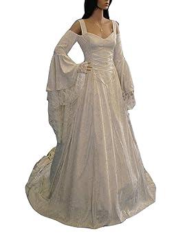 Guiran Disfraz Medieval Mujer Largo Vestidos de Novia Vintage Blanco 5XL