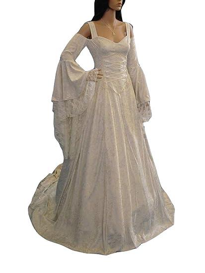 Guiran Disfraz Medieval Mujer Largo Vestidos de Novia Vintage Blanco 4XL