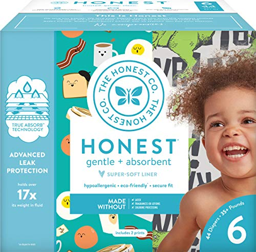 The Honest Company Club Box - Size 6 - T-Rex & Breakfast Print with TrueAbsorb Technology | Plant-Derived Materials | Hypoallergenic | 44 Count (6 Generation Seventh Size Diapers)