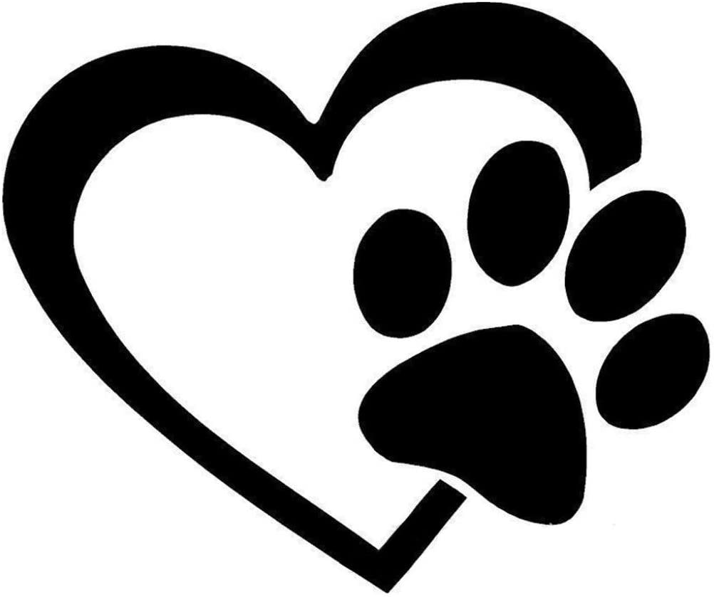 Dogs Leave Paw Prints On You Heart Sticker Vinyl Decal Adhesive Wall Laptop BLAC