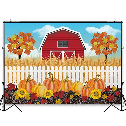 Funnytree 7x5ft Autumn Rural Farm Theme Party Backdrop Fall Harvest Pumpkins Photography Background Thankgiving Sunflower Maple Leaves Baby Shower Birthday Cake Table Decoration Banner Photo Booth]()