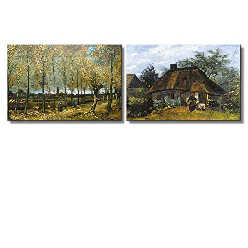 Lane with Poplars near Nuenen Farmhouse in Nuenen by Vincent Van Gogh Oil Painting Reproduction in Set of 2 x 2 Panels