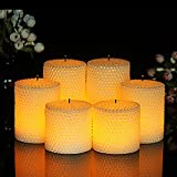 Flameless Flickering LED Candles with 10-Key Remote Control Timer LED Textured Wax Pearl Flameless Pillar Candles, 3