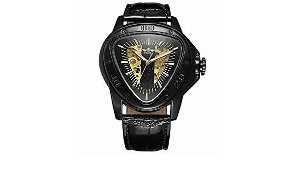 Amazon.com: Fashion Luxury Men Automatic Self Wind Mechanical Wrist Watches Top Brand Triangle Black Case Mens Watches Reloj Hombre: Watches