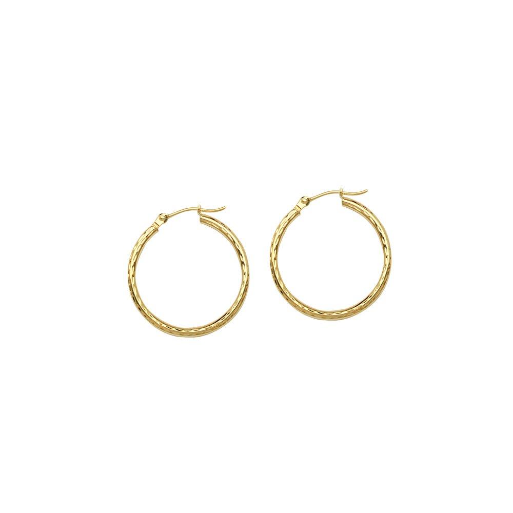 HOOP EARRINGS SHINY FDIAMOND CUT 10KT GOLD 2X20MM ROUND TUBE FULL DIAMOND CUT