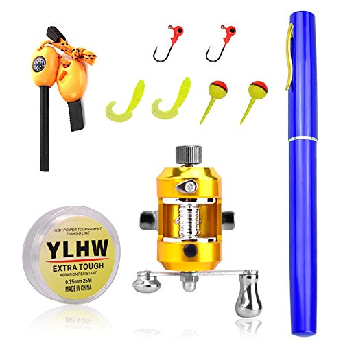Elemart ActionEliters Portable Fishing Rod Pole and Reel Combo Set - Telescopic Pocket Fishing Pen Rod Pole + Reel Aluminum Alloy Fishing Line Soft Lures Baits Jig Hooks Firestarter Compass Whistle