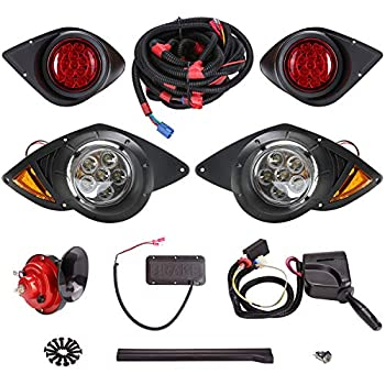 Image of 10L0L Golf Cart LED Headlights and Tail Light Kits Fit Yamaha G29 YDR Drive 2007up with Universal Deluxe Light Upgrade Kit, with Turn Signals Switch Horn Brake Lights Harness Golf Cart Accessories