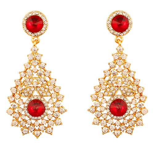 Crystal Gold Tone Metal - Touchstone Indian Bollywood Rhinestone/Red faux ruby bridal designer jewelry earrings for women in gold tone