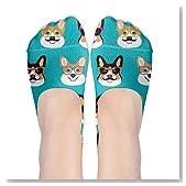 Cute Corgi Glasses And Mustaches Women No-Show Casual Liner Socks Low Cut Ankle Socks Boat Socks