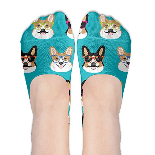 Cute Corgi Glasses And Mustaches Women No-Show Casual Liner Socks Low Cut Ankle Socks Boat Socks -