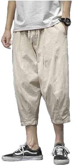 Kankanluck Men's 3/4 Length Pants Relaxed Harem Basic Style Straight Leg Pants