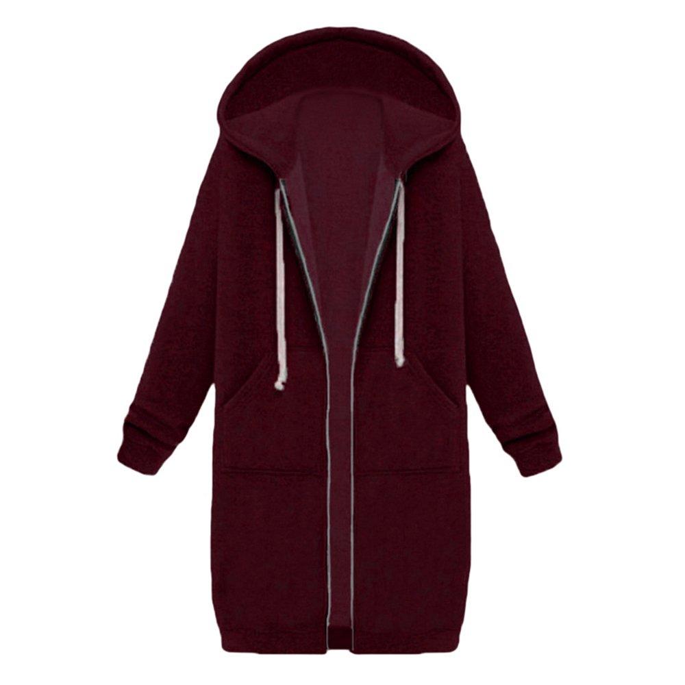 MIOIM Womens Long Drawstring Zipper Pocket Hoodies Sweatshirt Coat Outwear Jacket C2255421