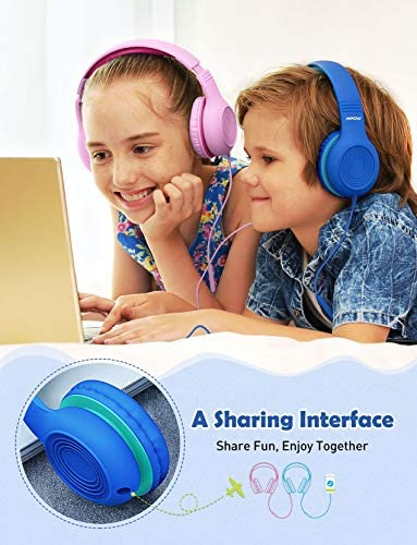Mpow CH6S Kids Headphones With Microphone Over Ear, On Ear Headphones For Kids With HD Sound Sharing Function For Children Boys Girls, Volume Limit Safe 85dB,94dB Headset For School, Travel