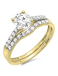 14K Gold Round Moissanite & White Diamond Ladies Bridal Engagement Ring Matching Band Wedding Sets