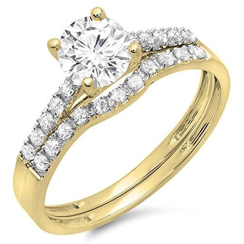 Dazzlingrock Collection 14K Round Moissanite & White Diamond Bridal Engagement Matching Wedding Sets, Yellow Gold, Size ()