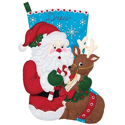 Bucilla 28-inch Jumbo Christmas Stocking Felt Applique Kit, 86897E Santa and Reindeer ()