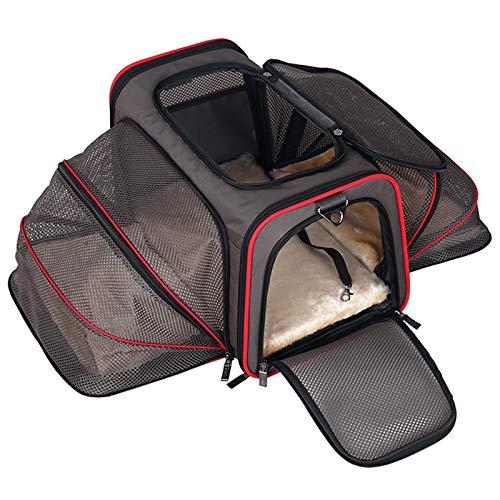 MFZJ Carrier Pet espandibile per Cani di Piccola Taglia Cat Soft Sided Airline Cani omologati per Auto da Viaggio Multifunzione Borsa per Cani Bag46  28  28Cm