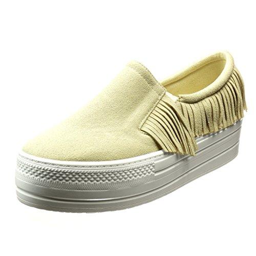 Angkorly Damen Schuhe Sneaker - Plateauschuhe - Slip-on - Fransen Keilabsatz High Heel 5 cm Beige