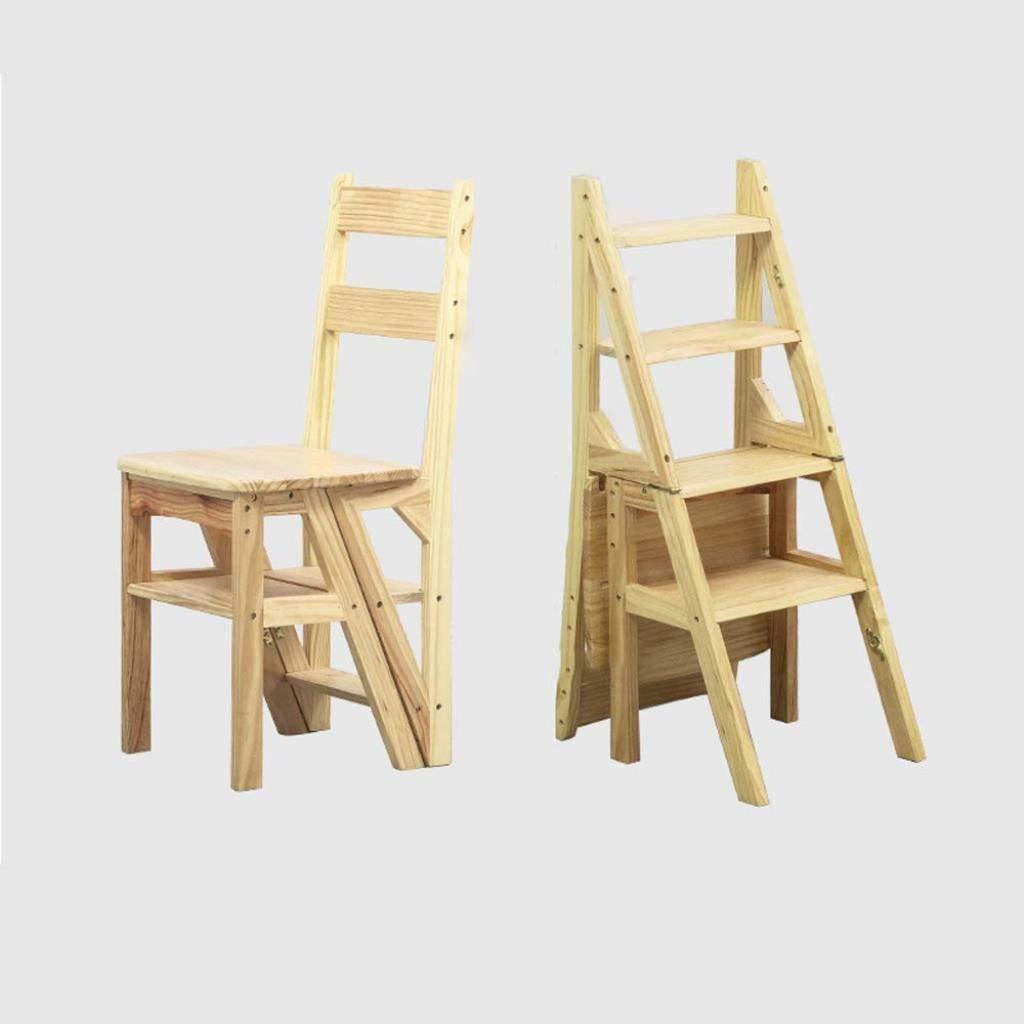 無垢材ホーム多機能折りたたみ梯子椅子屋内モバイル屋内クライミングラダーデュアルユース4ステップラダースツールクライミングラダー40×39×90センチ (Color : Wood Color) B07SXR8KSR Wood Color