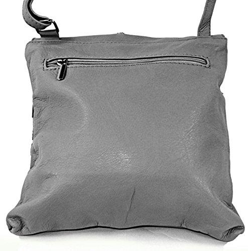 Echt Leder Damentasche Handtasche Ledertasche Schultertasche grau