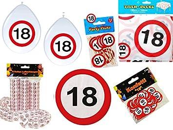 45 Tlg Partyset 18 Geburtstag Dekoset Dekobox Verkehrschild