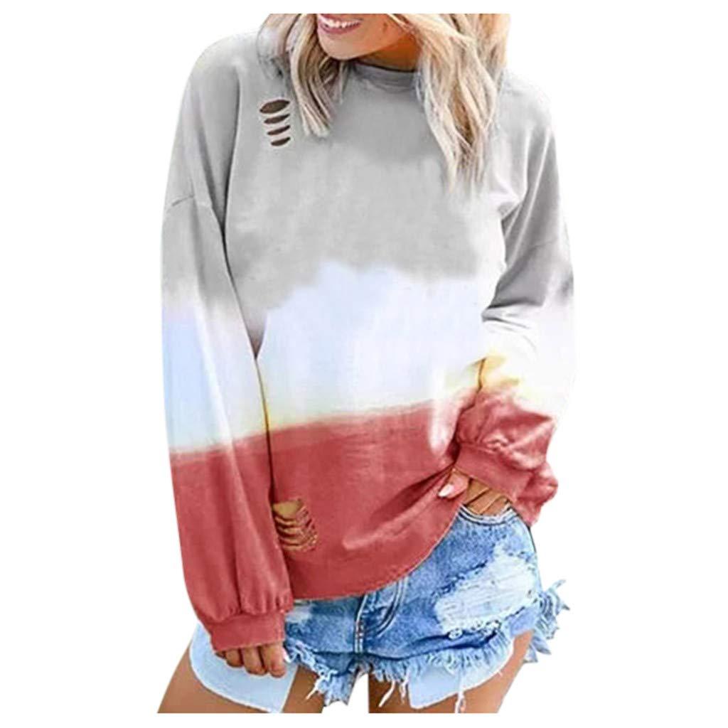 DOIuye Women's T-Shirts Gradient Contrast Color Tye Dye Tops Casual O-Neck Long Sleeve Sweatshirt Blouse Red by DOIuye