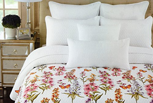 Cynthia Rowley Cotton 3 Piece Double Full/Queen Quilt Set Reversible Orange Pink Purple Sage Green White Large Floral Botanical Nature Butterfly Quilted Bedding