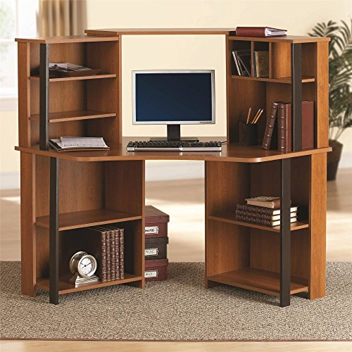 "Classy Wooden Corner Workstation, Stylish and Highly Functional Home Office Furniture with Multiple Storage decks great for Organization and Multi-Tasking, Cherry Finish (59.5""L x 29.56""W x 49.69""H)"