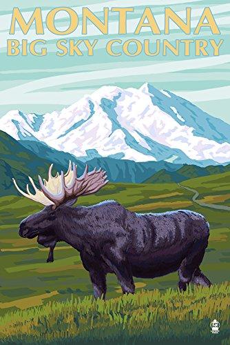 - Montana Big Sky Country - Moose and Mountain (12x18 Art Print, Wall Decor Travel Poster)
