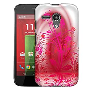 Motorola Moto G Case, Slim Fit Snap On Cover by Trek Pink Plant Beautiful Shadows on White Trans Case