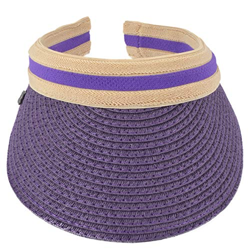 Women Men Straw Sports Tennis Golf Sun Visor Hats (Purple1)