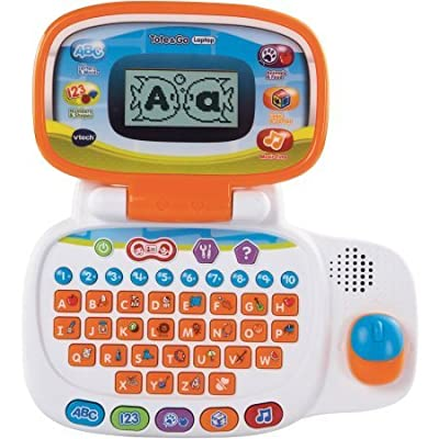 VTech Tote & Go Laptop / The learning laptop has 20 learning activities teach 60+ words, spelling, shapes, logic, animals and more: Toys & Games