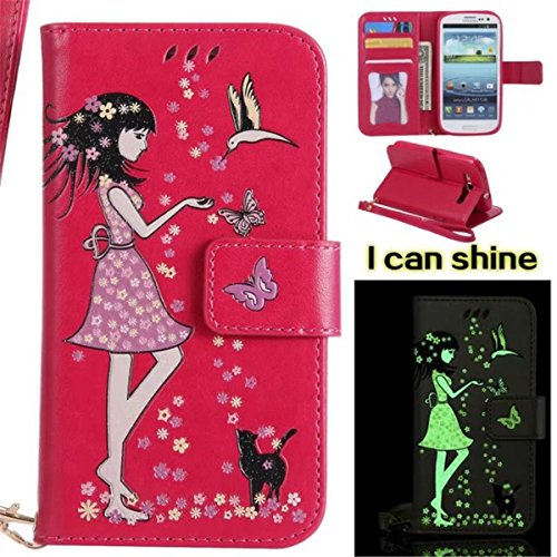 Galaxy S3 Case,Gift_Source [Card Slots] [Wrist Strap] [Girl & Cat Emboss] PU Leather Folio Flip Wallet Magnetic Stand Cover Noctilucent Glow in the Dark Case for Samsung Galaxy S3 III - Glow Dark S3 The In Case Galaxy