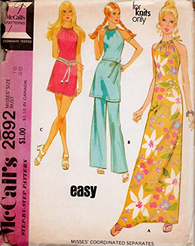 - Mccalls 2892 Misses Mod Maxi Sleeveless Drawstring Dress or Tunic with Pants Sewing Pattern Vintage Sewing Pattern Check Offers for Size