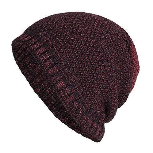 (Sunny&Love 2018 Unisex Warm Baggy Weave Crochet Winter Wool Knit Ski Hat Skull Caps (Wine))