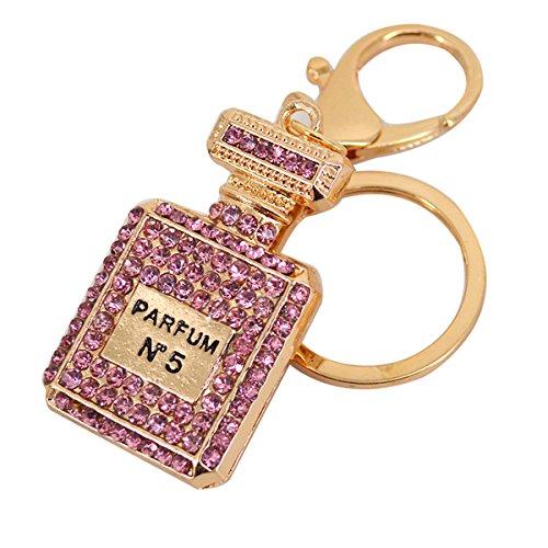 Mily Bling Bling Crystal Keychain Bag Pendant Accessories Cute Rhinestone Perfume Bottle Keychain