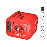 iphone 4 canada - MakerFun Travel Adapter Universal Travel Adapter Kit with 3.5A 4 USB Ports Travel Plug Adapter Covers 150+Countries Europe UK/Germany/France/Canada/Mexico and More Red