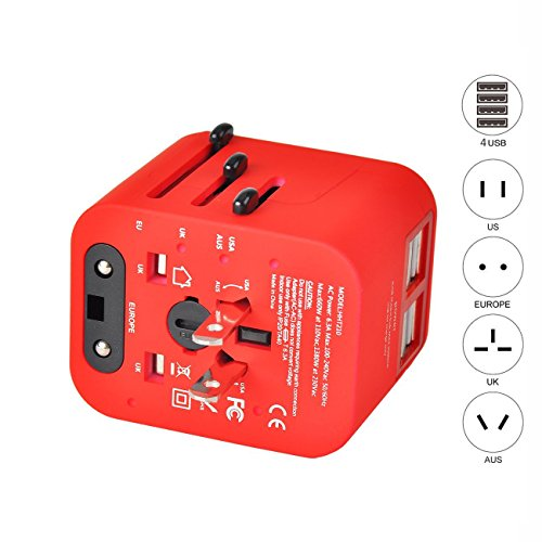 Price comparison product image Travel Adapter Universal Travel Adapter Kit with 3.5A 4 USB Ports Travel Plug Adapter Covers 150+Countries Europe UK/Germany/France/Canada/Mexico and More(Grey) (red)