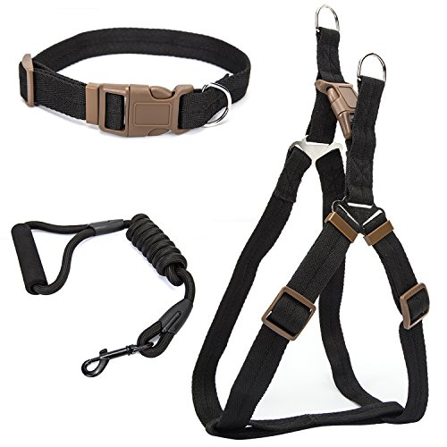 Gopen Freedom No Pull Dog Collar Harness Leash Set Large Front Range Dog Harness Adjustable Nylon Rope Medium Small Best For Walking, Hiking And Training Pets,No Choke & No Slip