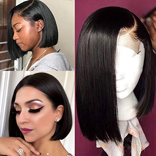 Licoville Straight Black Lace Front Wig Brazilian Remy Hair 12 Inch Short 1B Natural Color Bob 180% Density Full Thick Human Hair Bob Wigs, Medium Brown Swiss Lace (Best Place To Get Ombre Hair)