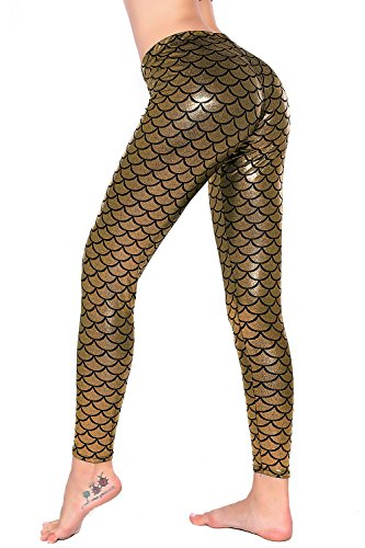 25880fe3196c7 Galleon - Women Sexy Mermaid Fish Scale Hologram Stretch Soft Shine Leggings  (Medium, Gold)