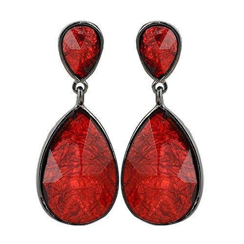 Elakaka Alloy Resin Teardrop-Shaped Earrings(Red)
