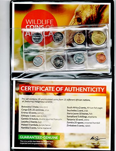 2017 No Mint Mark 15 Uncirculated, Legal Tender Coins From 15 Different African Nations Featuring Images Of Their Indigenous Wildlife .Includes Album and Certificate of Authenticity. VOC Seller uncirculated