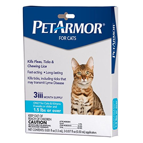 PETARMOR for Cats, Flea & Tick Treatment for Cats (Over 1.5 Pounds), Includes 3 Month Supply of Topical Flea Treatments from PETARMOR